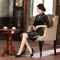 2015 winter velvet Black cheongsam retro modified mom Qipao dress daily improved cheongsam dress fashion chinese style dress
