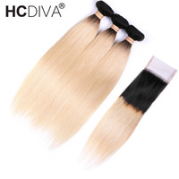 Brazilian Straight Hair 1B 613 Ombre Blonde Hair Bundles with Closure Remy Human Hair Bundles Weave with Closure HCDIVA