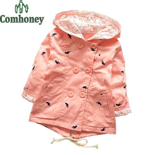 Gabardinas Para Niños Niñas de Color Rosa Bebé Chaqueta de Gabardina de Algodón Con Capucha de Encaje Pequeños Pies Del Bebé de Doble Botonadura Chica Cazadora