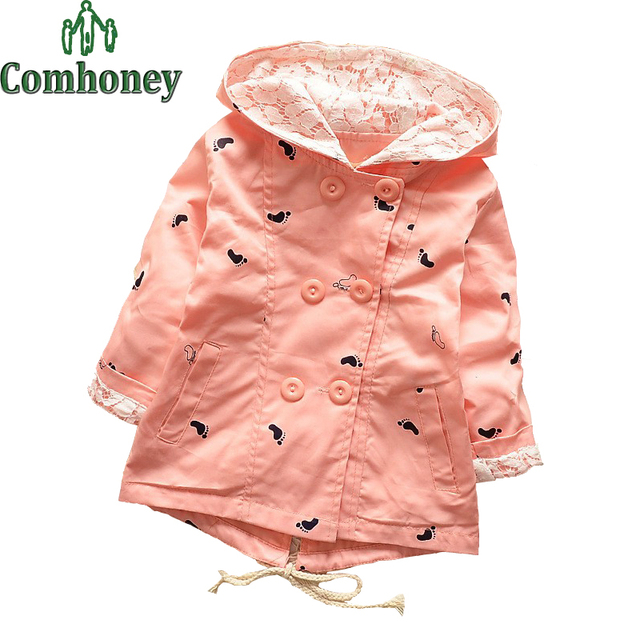 Trench Coats For Girls Kids Pink Trench Coat Cotton Lace Hooded Jacket Infant Little Feet Double-breasted Baby Girl Windbreaker