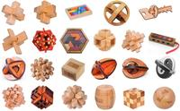 Set of 23PCS IQ Wooden Brain Teaser Puzzles Game for Adults Kids