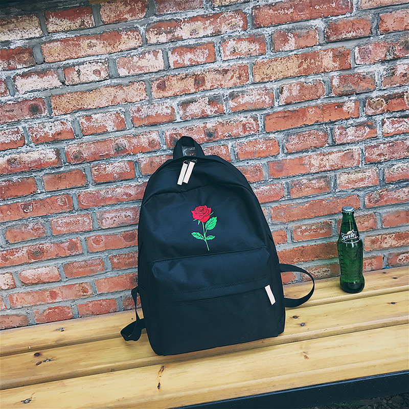 3960e1ea72 Men Heart Canvas Backpack Cute Women Rose Embroidery Backpacks for ...