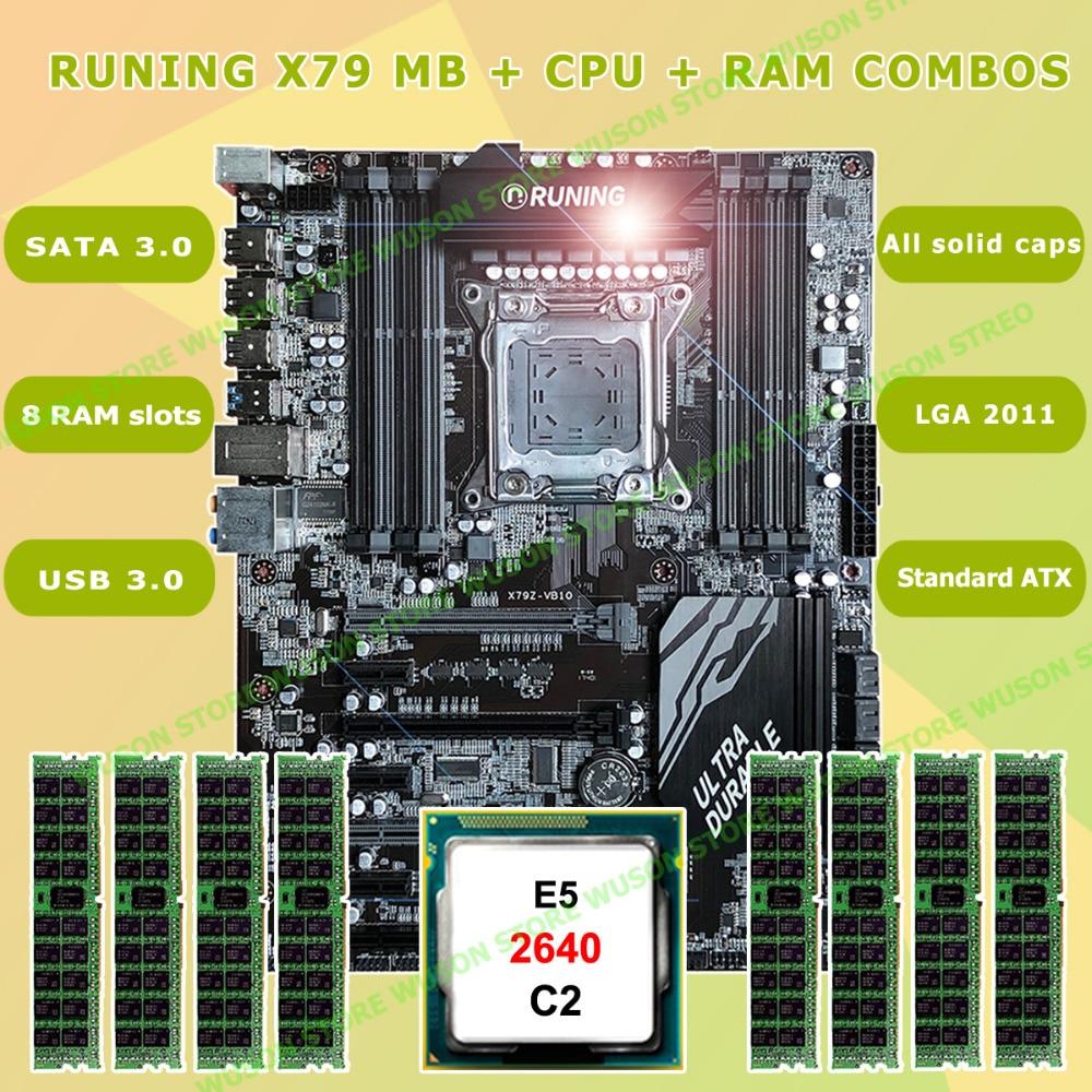 New!!Runing Super ATX X79 LGA2011 Motherboard 8 DDR3 DIMM Slots Max 8*16G Memory Xeon E5 2640 C2 CPU 32G(8*4G)1333MHz DDR3 RECC