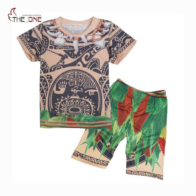 MUABABY Little Boys Moana Maui Costume Children Cartoon 2 Pieces Set Suits Kids Comfy Pajamas  Boy Summer Sleepwear Clothing комбинезоны little boy комбинезон трансформер