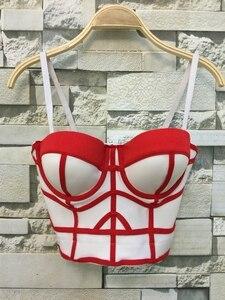 Image 4 - Bustier de realce para mujer, corsé geométrico de moda para fiesta de boda, Top corto de talla grande, 4 colores S XL