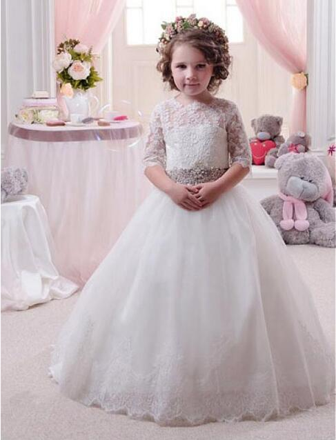 Adorable White Ivory Flower Girl Dress For Wedding With Puffy Ball Gown Tulle Lace Up Back Long Sheer Girl Dresses lace trim lingerie sheer t back