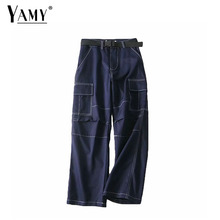 YAMY Boho high waist cargo pants women korean loose camo trousers hip hop punk
