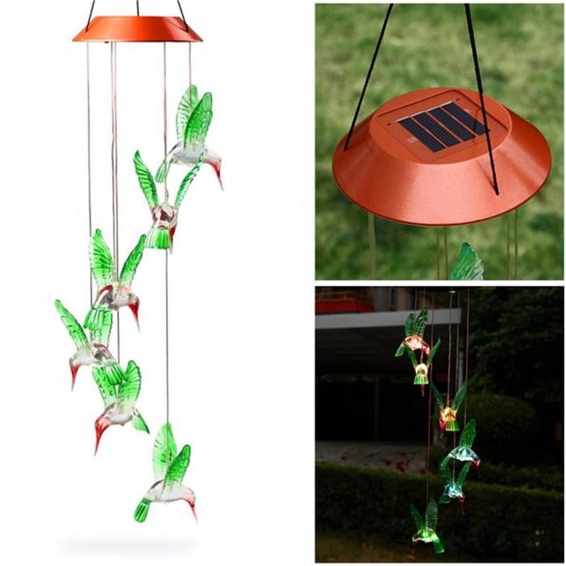 Solar Power Humming Bird LED Solar Light Romantic Windbell Light Wind Chime Lamp Color Changing for Patio Yard Garden Decoration in Solar Lamps from Lights Lighting