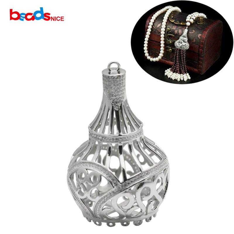 Beadsnice pur 925 bijoux en argent Sterling accessoires Long collier connecteur pendentif fait main cadeau pour elle ID35304