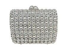 Schöne Strass Abendtaschen Floral Kristall Jeweled Clutch Geldbörse Silber rechteckigen eingelegten diamanten handtasche 88392