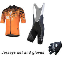Bianchi Short Sleeve Cycling Jersey Bib Short And Gloves MTB Bike Clothing Ropa Ciclismo PRO Bicycle Wear Clothes Sports Wear(China)