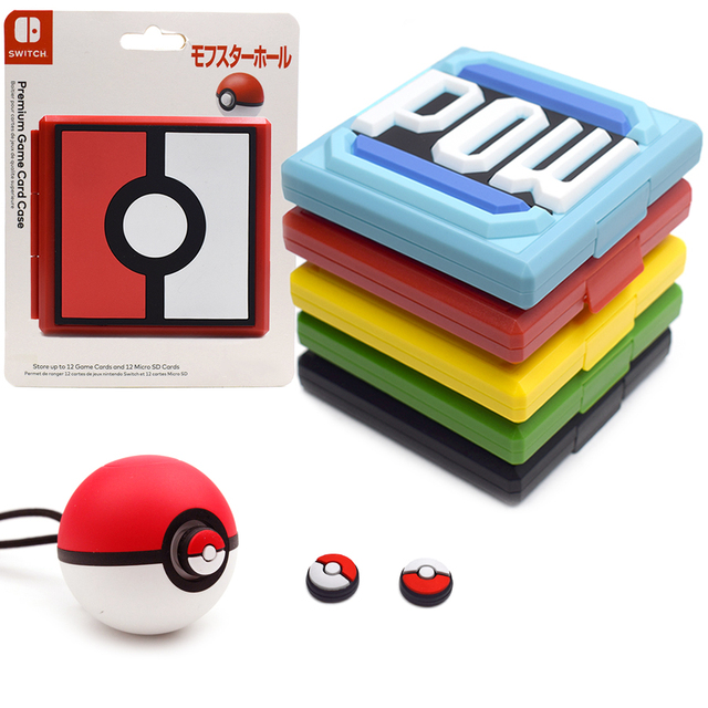 Nintend Switch NS Accessories Portable Game Cards Storage Case & 2 Poke Ball Plus Thumb Grips Caps for Nintendo Switch Game