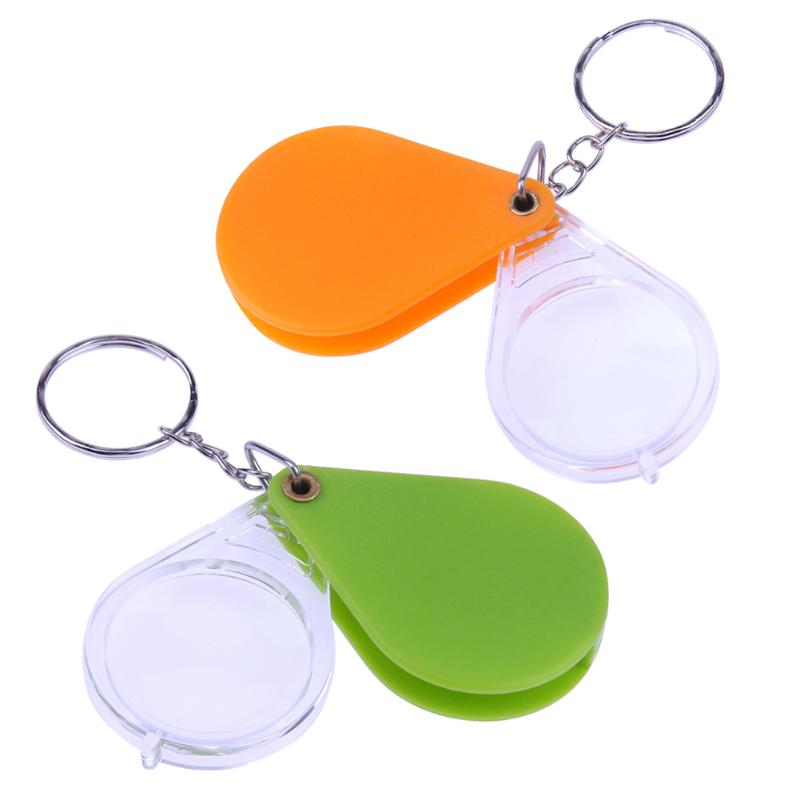 10X Plastic Mini Magnifier Reading Glass Folding Keychain Handheld Magnifying Loupe ...