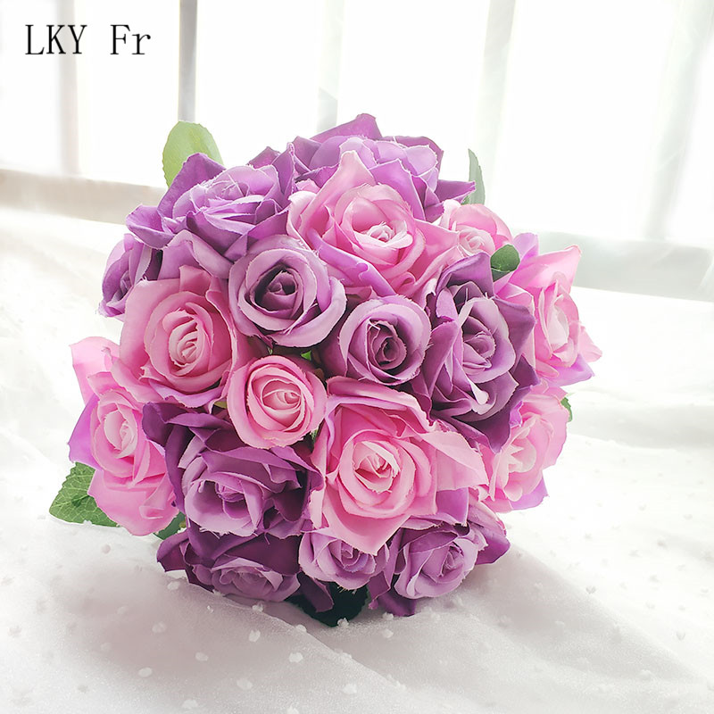 LKY Fr Wedding Bouquet Bridal Bouquet Mariage Silk Artificial Flowers Roses Wedding Bouquets for Bridesmaids Wedding Accessories