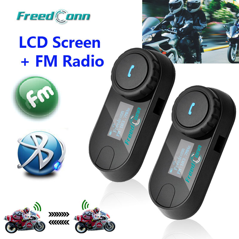 New Updated Version 2pcs FreedConn T COMSC Bluetooth Motorcycle Helmet Intercom Interphone Headset LCD Screen FM