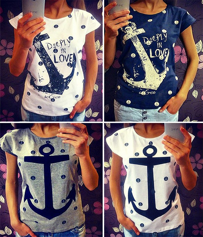 FanShou-Free-Shipping-2015-Women-T-Shirts-Summer-Straight-Anchor-Print-Shirts-Casual-Shirts-Tee-Tops
