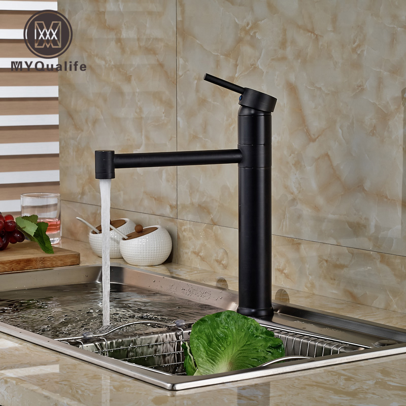 Deck Mount Single Lever Kitche Mixer Taps One Hole Hot Cold Water Kitchen Faucet Oil Rubbed Bronze Finished deck mount two spout spring kitchen sink faucet led light hot and cold brass kitchen mixer taps oil rubbed bronze