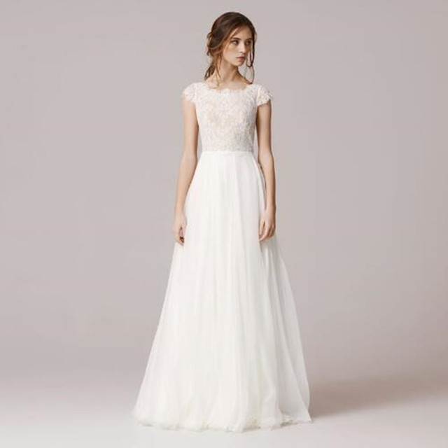 Wedding Dress 2017 spanish lace for Brides A Line Scoop Floor Length ...