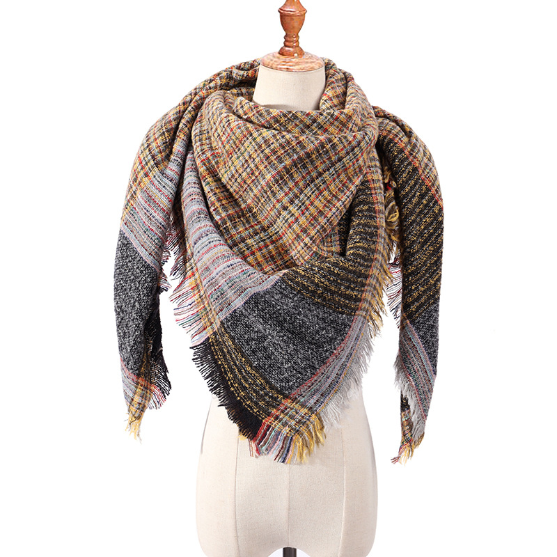 2019 New Women 39 s Winter Triangle Scarf Warm Plaid Cashmere Scarves Female Shawls Pashmina Lady Bandana Wraps Blanket in Women 39 s Scarves from Apparel Accessories