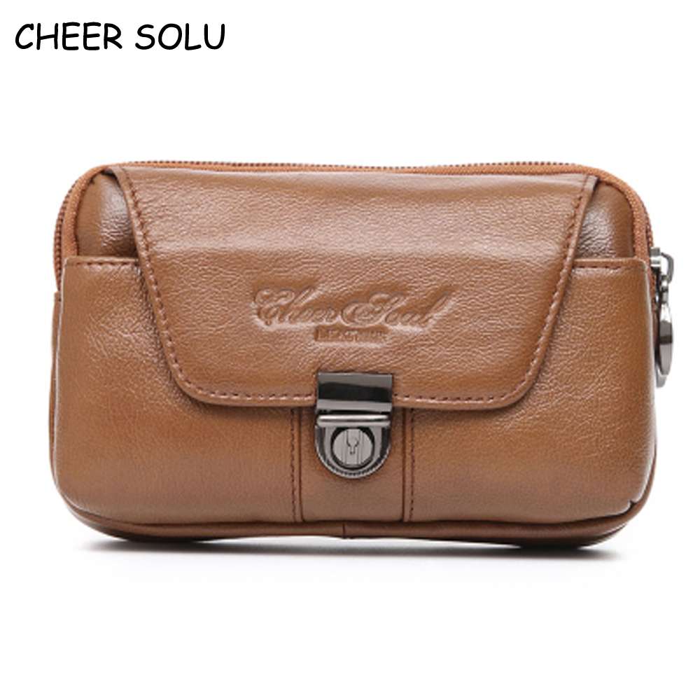 CHEER SOUL Men's Waist Belt Bag Genuine Leather Casual Fanny Pack Vintage Bum Waist Packs Male 5.5 Inch Mobile Phone Case Pouch