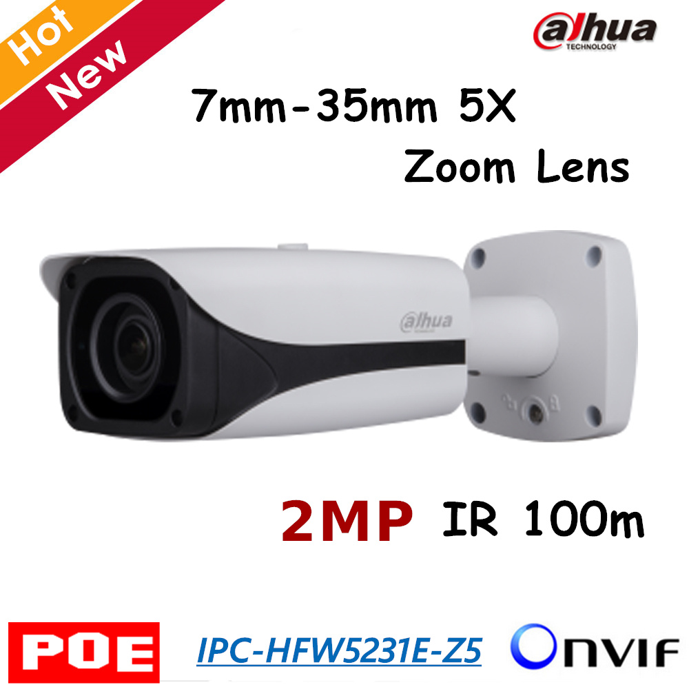 2017 New Dahua POE IP Camera IPC-HFW5231E-Z5 2MP 7mm-35mm 5X Motorized Zoom lens Metal case H.265 IR 50m Bullet camera Network dahua 3mp motorized ip camera ipc hfw2320r zs 2 7mm 12mm new model replace for ipc hfw2300r z cctv camera free shipping
