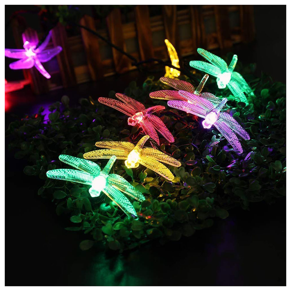 Christmas lights with solar energy in the shape of a dragonfly, 20 LED lights 5m chain with 8 modes of automatic timer, indoor