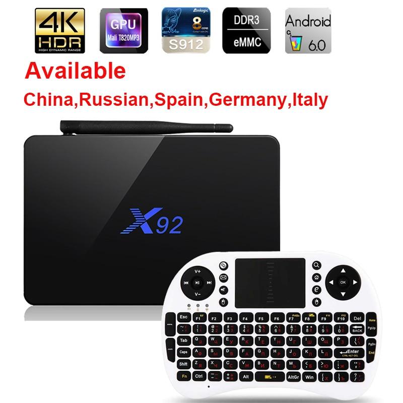 X92 Android 7.1 TV Box Max 3 gb/32 gb X92 Amlogic S912 Octa Core 5g Wifi 4 k Ensemble Intelligent Top Box BT 3D HD Media player PK X96 A95X