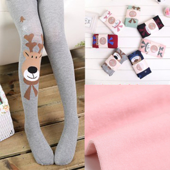 2-13T 2018 Thick Cartoon Animals Deer Baby Girl Tights Knitted Cotton High Waist Stockings Warm Winter Pantyhose for Girl Kid tights
