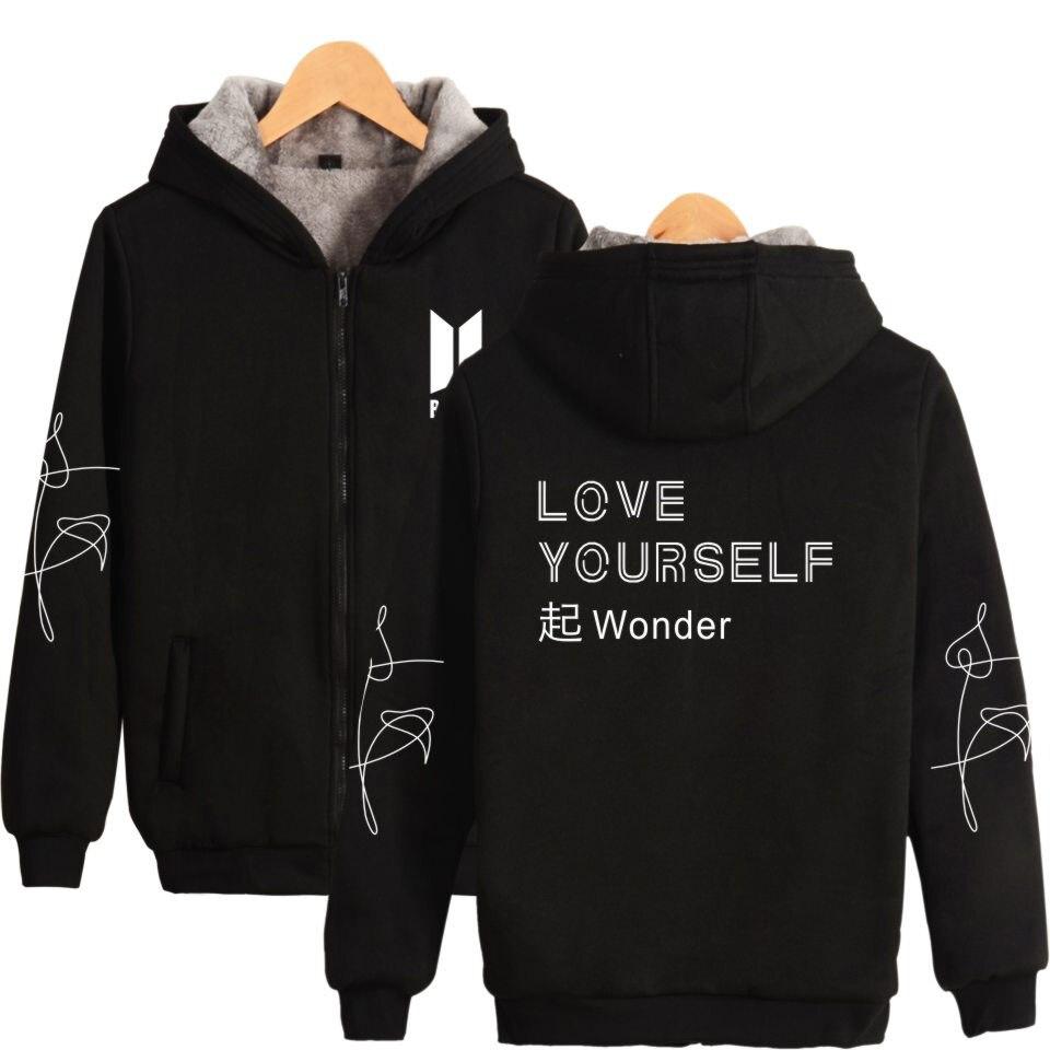 BTS Love Yourself новый альбом чудо Мода K поп Bangtan обувь для мальчиков толще свитер с капюшоном на молнии Зимняя теплая одежда