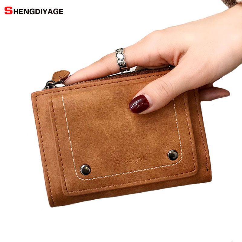 Vintage Wallet Women Purse Female Leather Short Wallets Card Holder High Quality Womens Wallets and Purses portefeuille femme