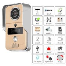 Gravação de vídeo sem fio do cartão sd telefone da porta + rfid keyfobs wi fi ip campainha da porta câmera poe para onvif conectar nvr