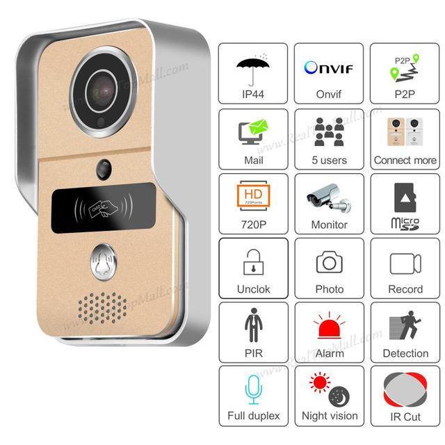Không Dây SD Card Ghi Hình Video Cửa + RFID Keyfobs Wifi Ip Chuông Cửa Camera Poe Cho ONVIF Kết Nối bộ Đầu Ghi NVR