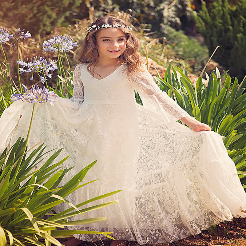 White Flower Girls Dresses For Wedding Gowns Long Sleeve Graduation Gowns Children Lace First Communion Dresses for Girls