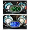 Автомобиль ГОРЯЧАЯ LED Подсветкой Цифровой Автомобиль Часы Термометр Авто Двойной Датчик Температуры Вольтметр Тестер Напряжения DC 12-24 В