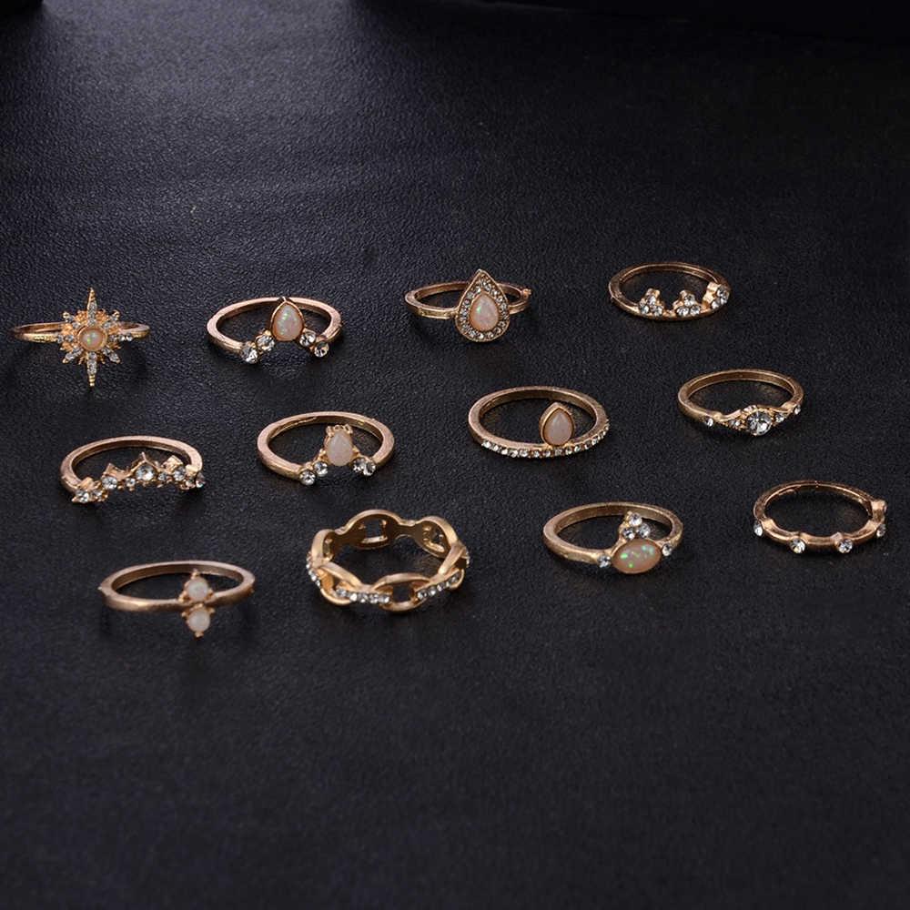 12 ชิ้น/เซ็ต Bohemian Vintage Crown น้ำหยดดาวเรขาคณิตชุดแหวนคริสตัลผู้หญิง Charm แหวนงานแต่งงานเครื่องประดับของขวัญ