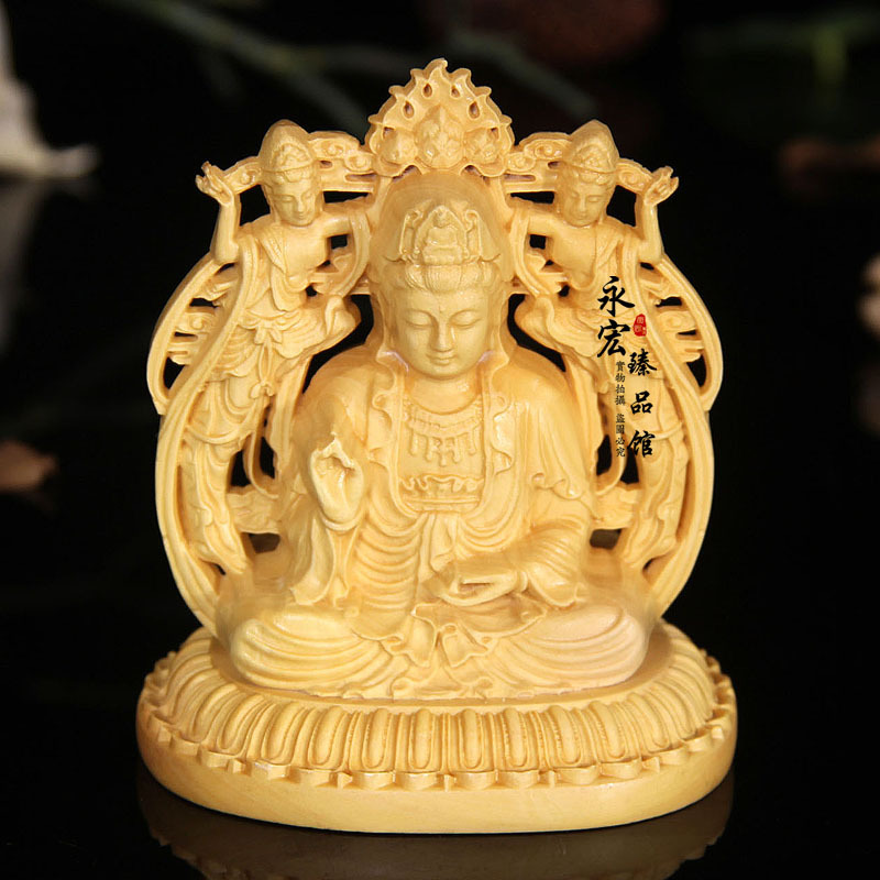Wooden double sided carving Buddha statue of thousands of Guanyin Bodhisattva Decoration Decoration Office Lucky Crafts