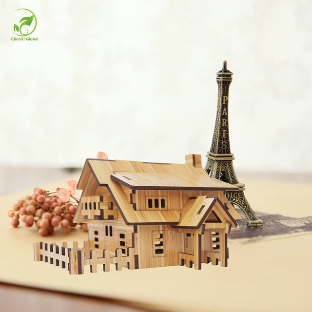 Creative DIY Wooden House Model Home Decorations Art Crafts To Be Assembled  Ornaments Bamboo Wood Furniture
