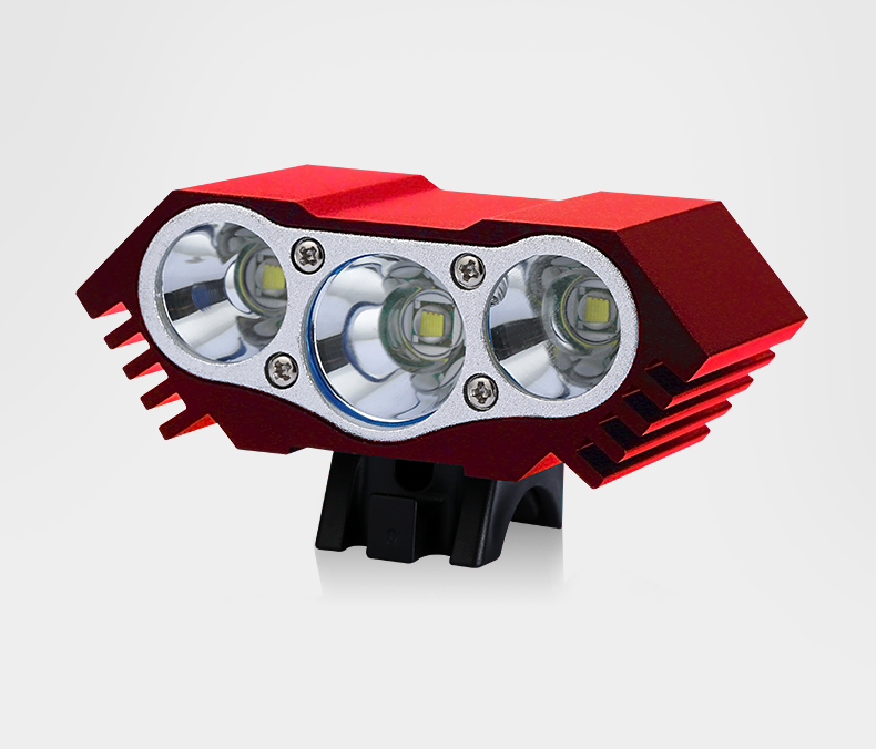 Portable Waterproof 3xT6 LED Front Bicycle Headlight forward light 3 heads Rechargeable with USB charger