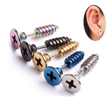 2018 Trendy Personality Earrings for Women Unisex Chic Punk 316L Medical Steel Phillips Screw Style(China)