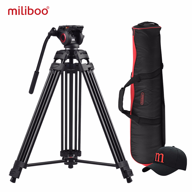miliboo MTT601A Aluminum Heavy Duty Fluid Head Camera Tripod for Camcorder DSLR Stand Professional Video Tripod
