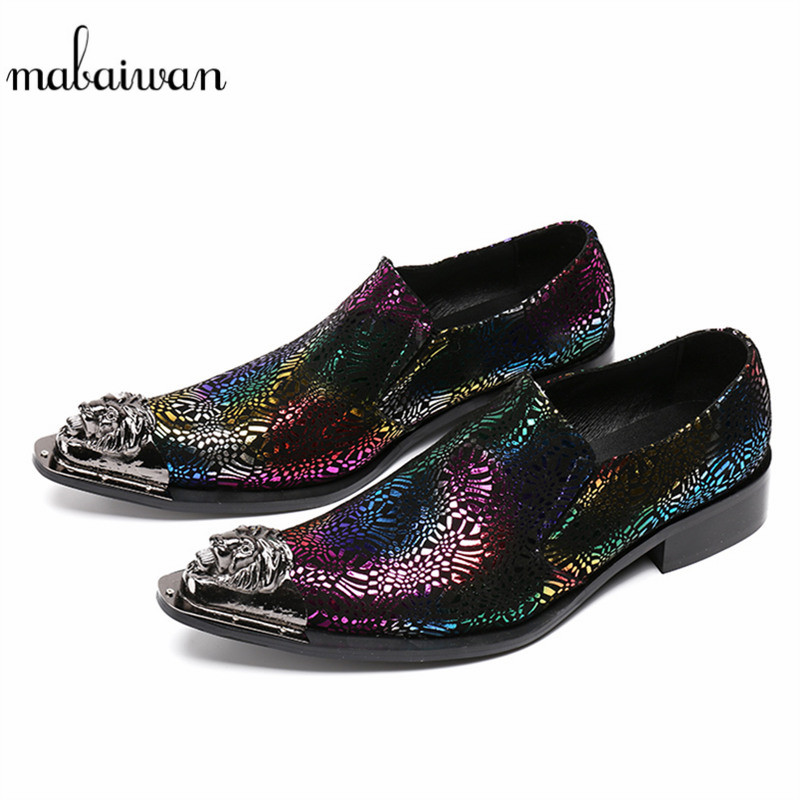 Mabaiwan Fashion New Casual Shoes Men Slip-On Real Leather Loafers Slipper Wedding Dress Shoes Men Metal Pointed Toe Party Flats mabaiwan italy casual men shoes snakeskin leather loafers fashion slipper wedding dress shoes men slip on handmade party flats