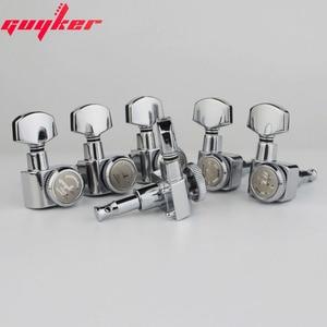 Image 3 - 1 conjunto guyker 6 in line cabeças de máquina sem parafusos de bloqueio tuning chave pegs tuners cromo prata 6r