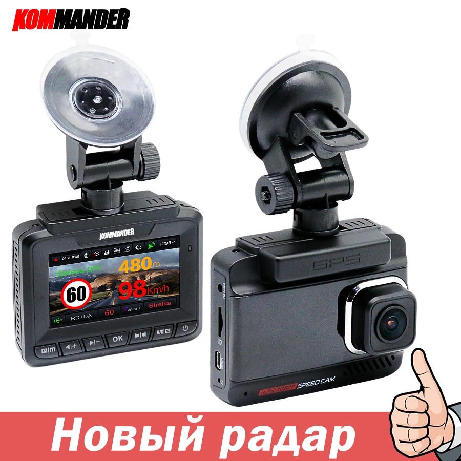 Kommander Radar détecter GPS caméra de vitesse Anti-Radar voiture DVR 3 en 1 FHD 1080P double lentille enregistreurs vidéo évitement des billets