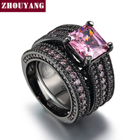 Pink Square Crystal Luxury Ring Set 18K Black Gun Plated Cocktail Party Rings For Women Wholesale