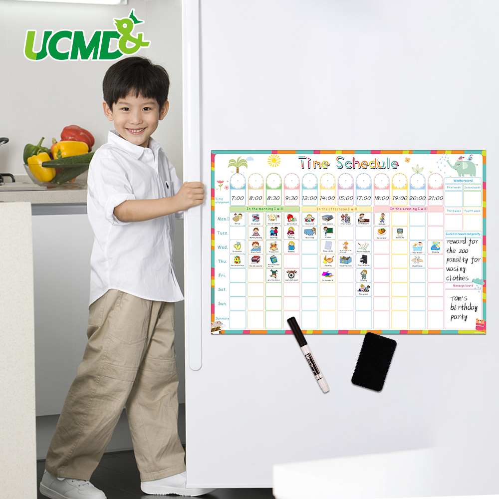 Magnetic Erasable Time Schedule Calendar WhiteBoard Chore Daily Weekly Planner Writing To-Do List Kids Reward Chart Wall Sticker 2