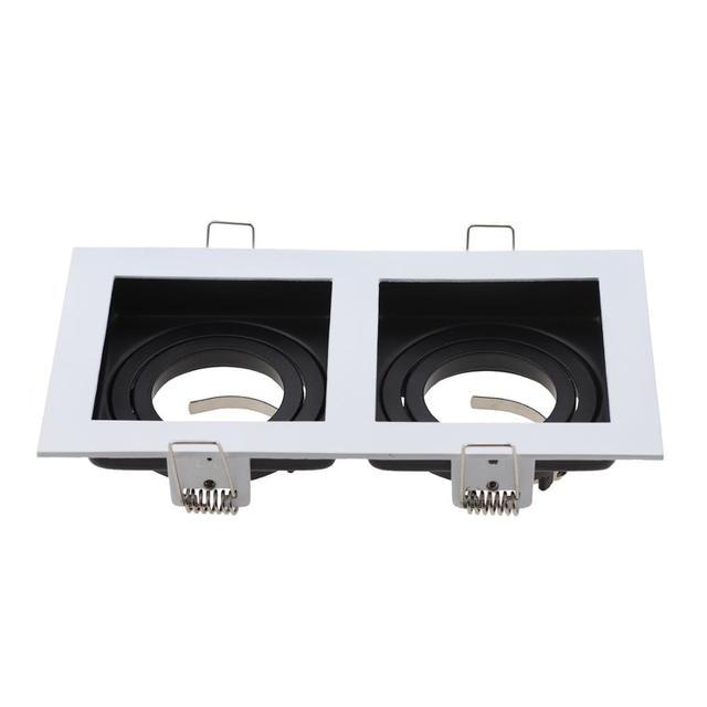 상업 아연 합금 광장 화이트 블랙 조정 가능한 Recessed 스포트 라이트 전등 프레임 LED GU10 MR16 전구 램프 피팅