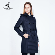SnowClassic font b 2017 b font Parkas Jacket Women Winter Coats Thin Slim Double Breasted Hood