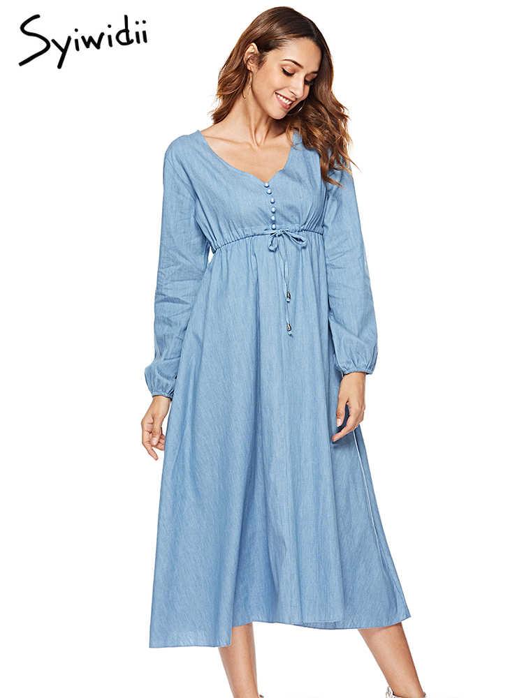 Модные джинсы платье Для женщин с длинным рукавом корсет со шнуровкой миди платья вечерние Повседневное Элегантный французский женское платье 2019 Хлопковое платье