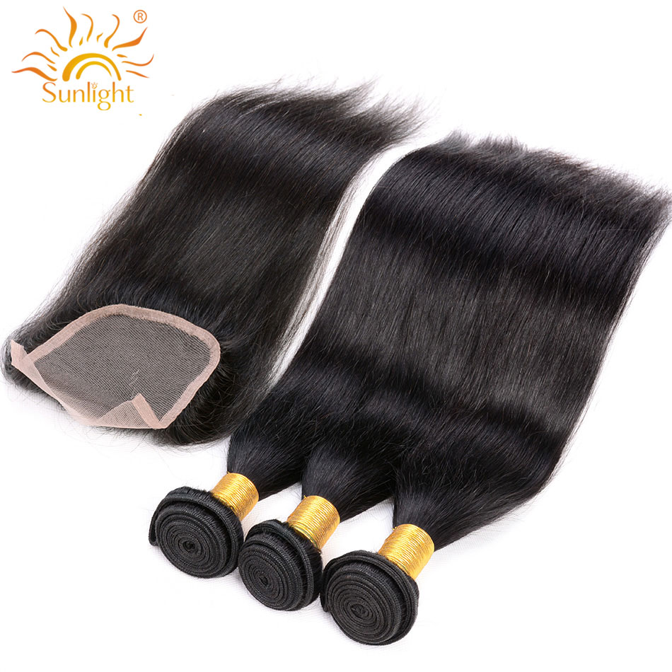 Indian Straight Hair Bundles With Closure 100% Remy Human Hair Bundles With Closure Sunlight 3/4 PCS Hair Extension & Closure 1b-in 3/4 Bundles with Closure from Hair Extensions & Wigs    1