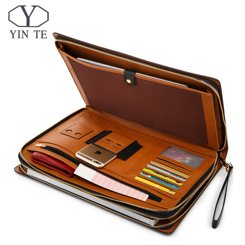 YINTE Men's Leather Document Bag A4 Paper Document Black Leather File Folder Zipple Bag Men's Business File Bag Portfolio T5482